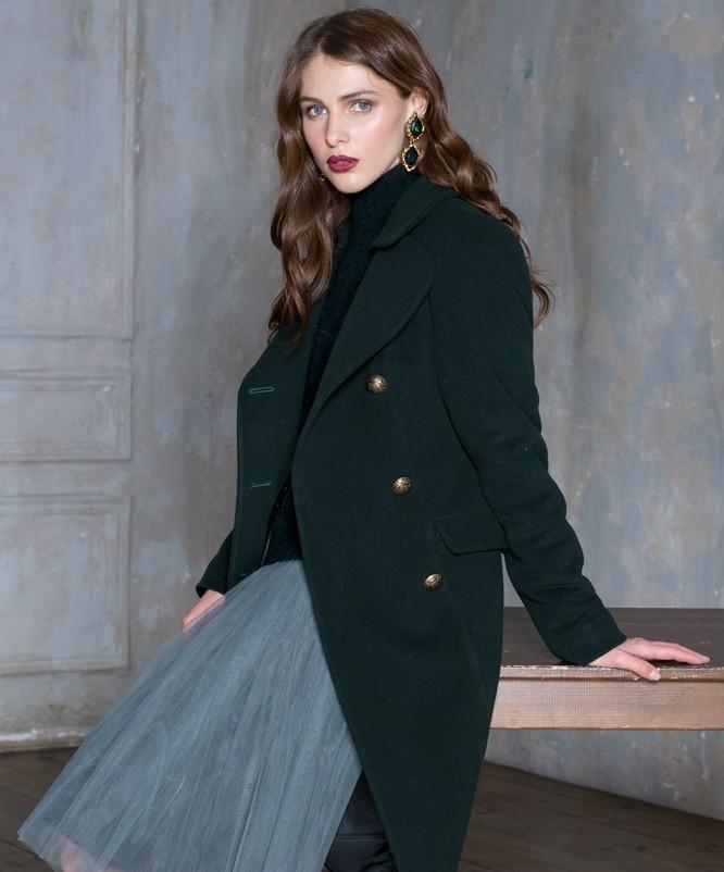 модное пальто осень зима 2018 2019 милитари зеленое удлиненное