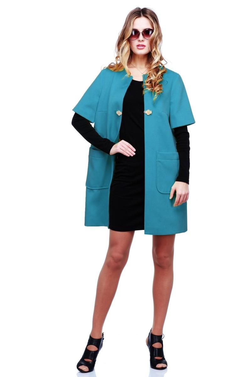 модное пальто осень зима 2018 2019 с коротким рукавом голубого цвета