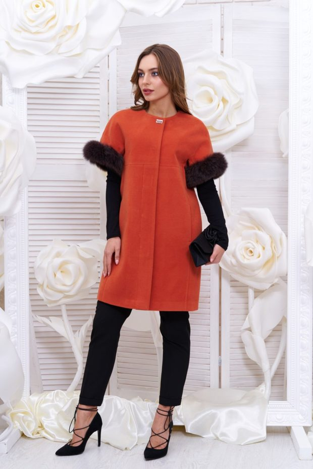 пальто женское осень 2019: с коротким рукавом красное с мехом