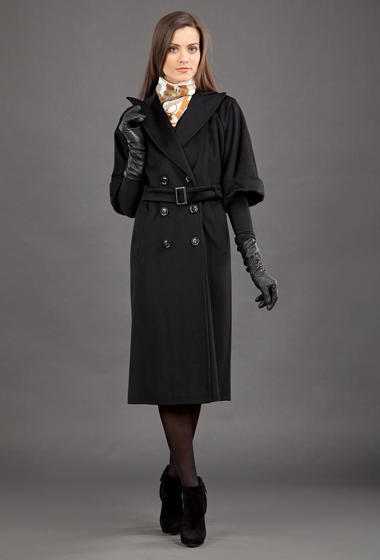 модное пальто осень зима 2018 2019 с коротким рукавом черное удлиненное под пояс