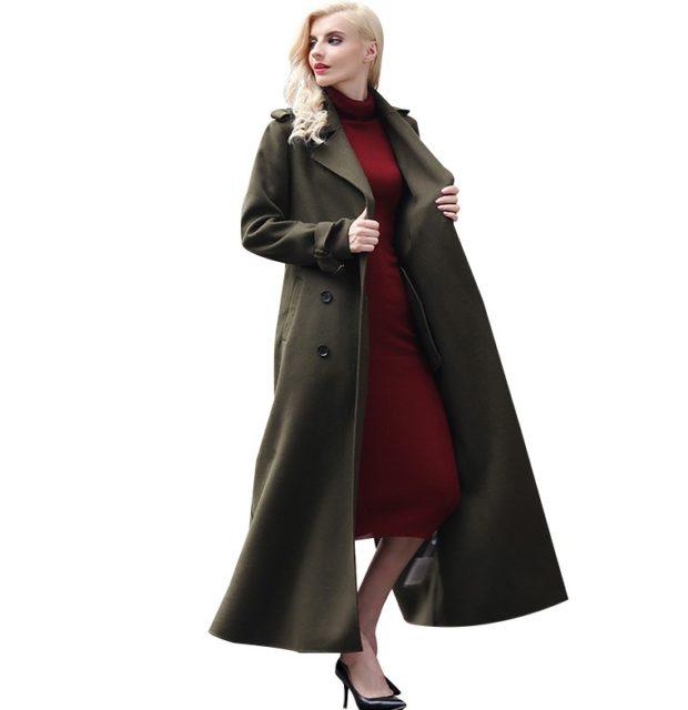 модное пальто осень-зима 2019-2020 макси темно-зеленое