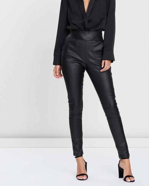 черные узкие кожаные