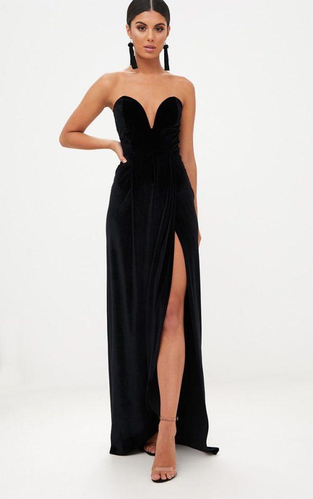 Модные платья на выпускной 2019: черное открытые плечи