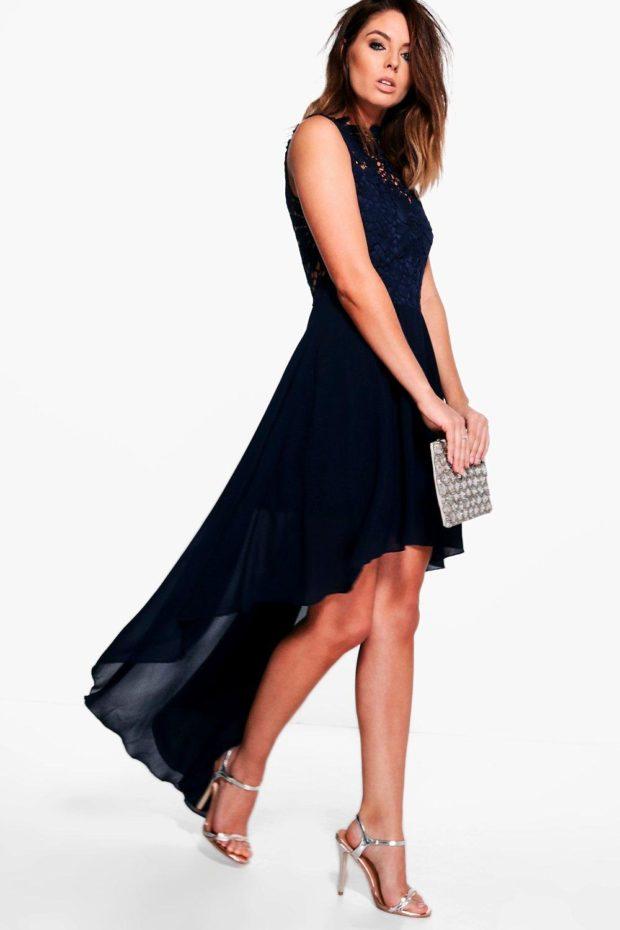 Модное платье для выпускного: темно-синее