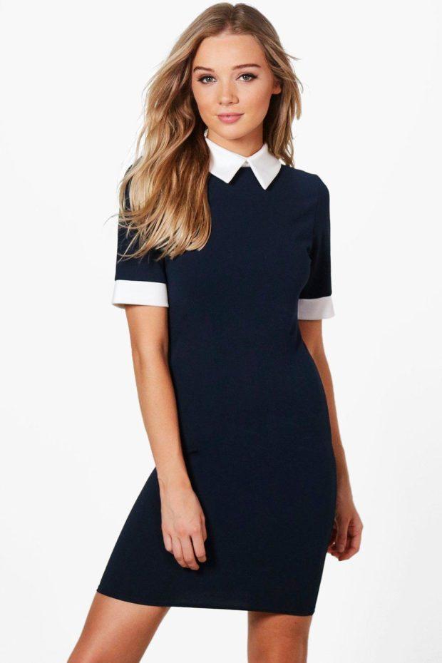 Модное платье для выпускного: синее белый воротник