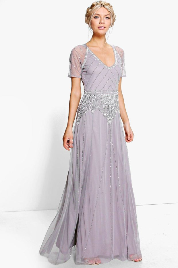 выпускное платье: фиолетовое длинное