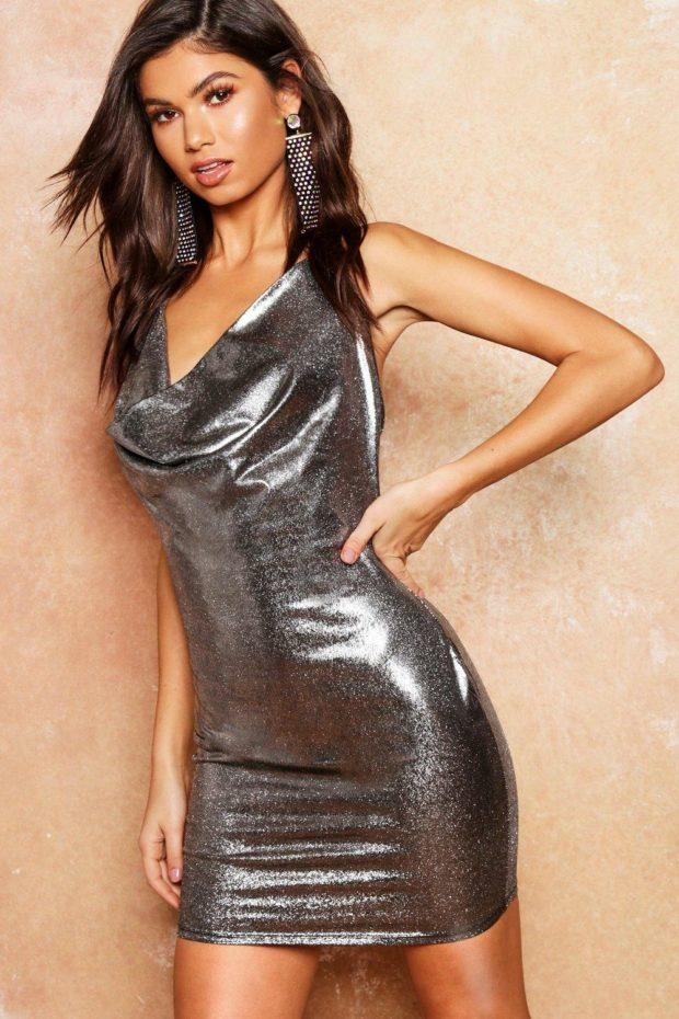 выпускное платье: блестящее короткое