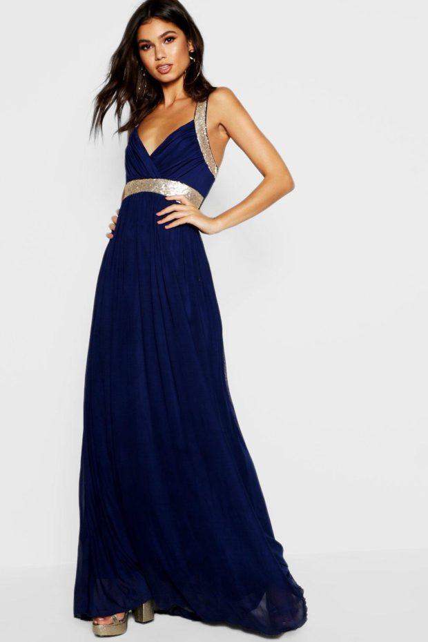 выпускное платье: синее длинное