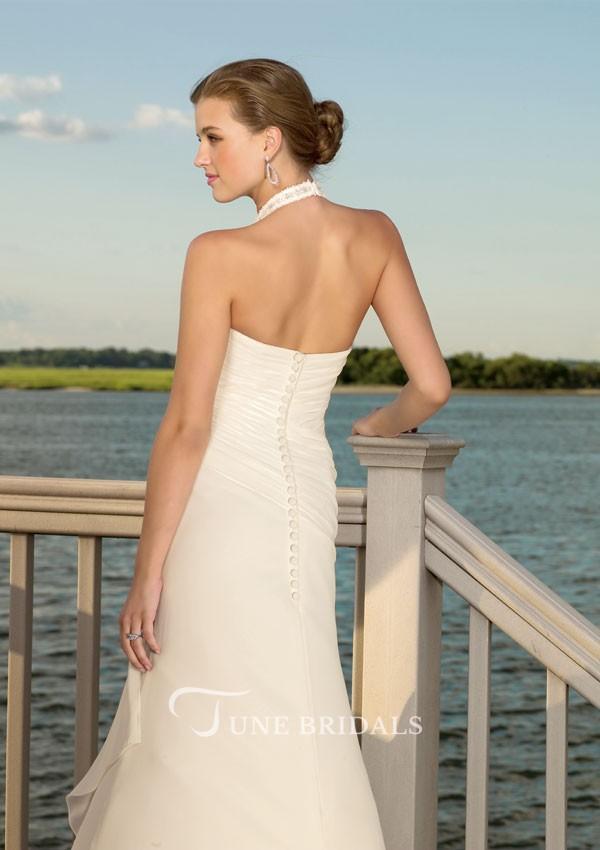 выпускное платье: розовое греческое длинное вид сзади