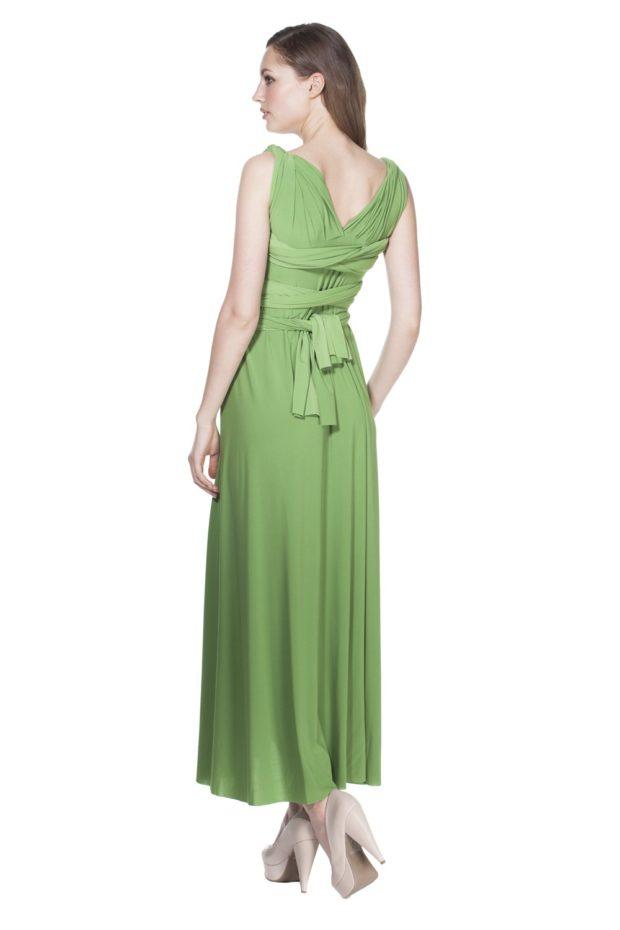 платье на выпускной: трансформер зеленое вид сзади