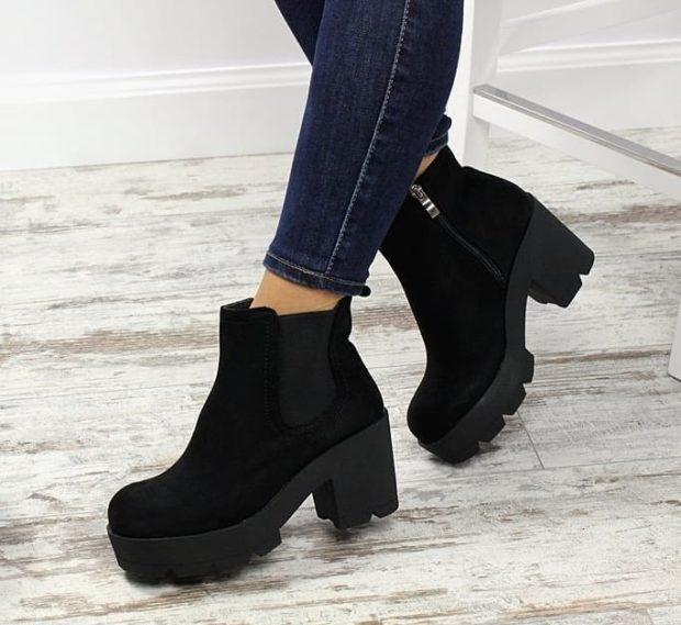 обувь на тракторной подошве с чем носить под джинсы