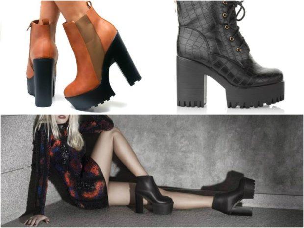 обувь на тракторной подошве с чем носить ботинки под платье
