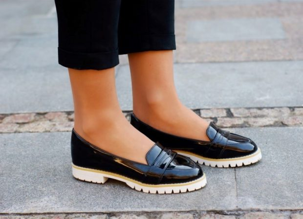 с чем носить обувь на тракторной подошве: укороченные штаны