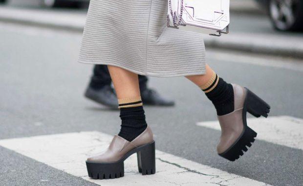 с чем носить обувь на тракторной подошве: под юбку