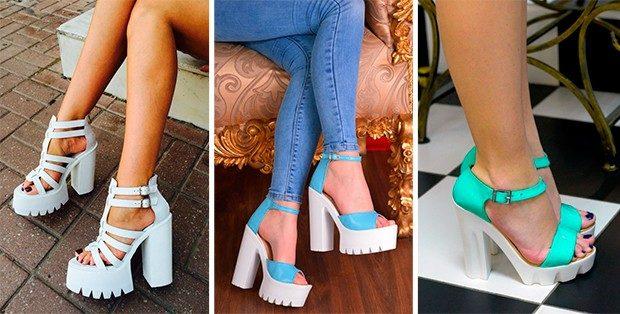 босоножки обувь на тракторной подошве под юбку джинсы
