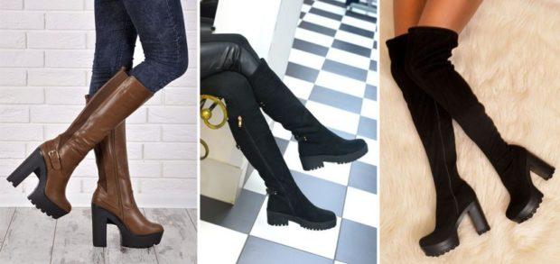 сапоги под джинсы лосины юбку