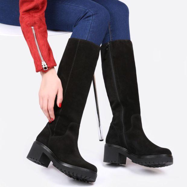 замшевая обувь на тракторной подошве с чем носить под джинсы