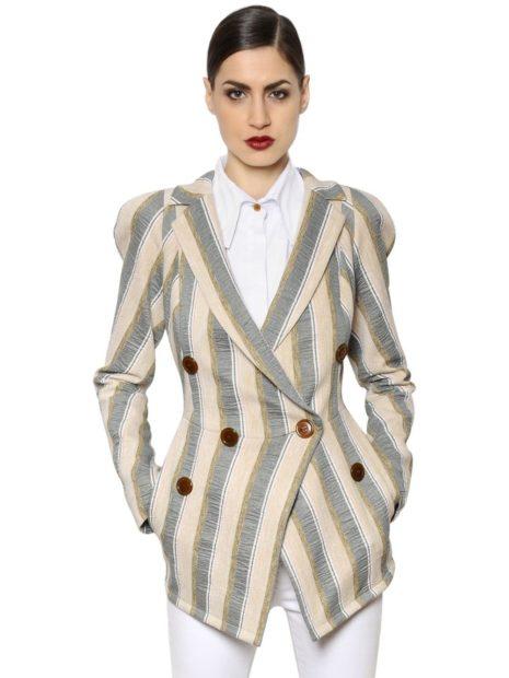 пиджаки женские модные в 2018 2019 году: в полоску вертикальную