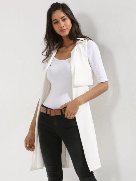 пиджаки 2018 без рукава удлиненный белый
