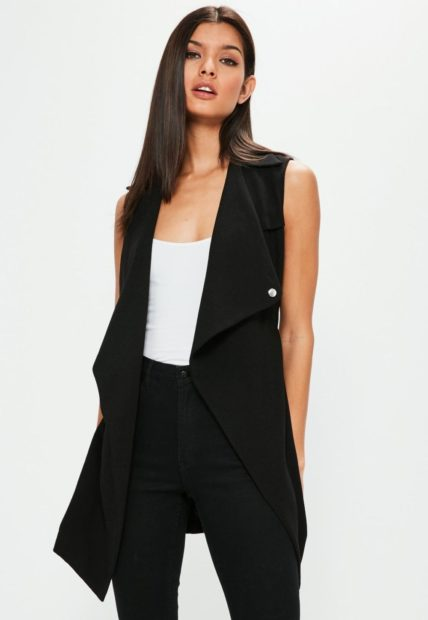 пиджаки 2018 без рукава длинный черный