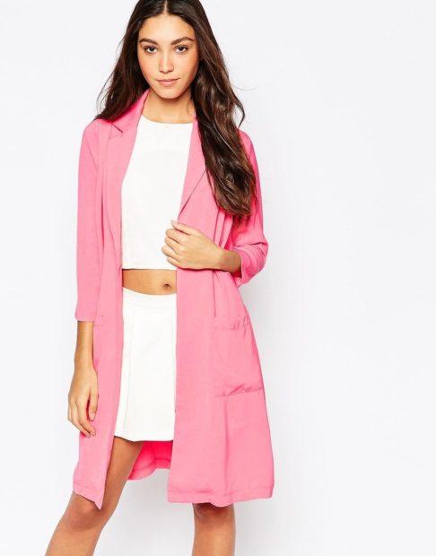 пиджаки 2018 удлиненный рукав 3/4 розовый