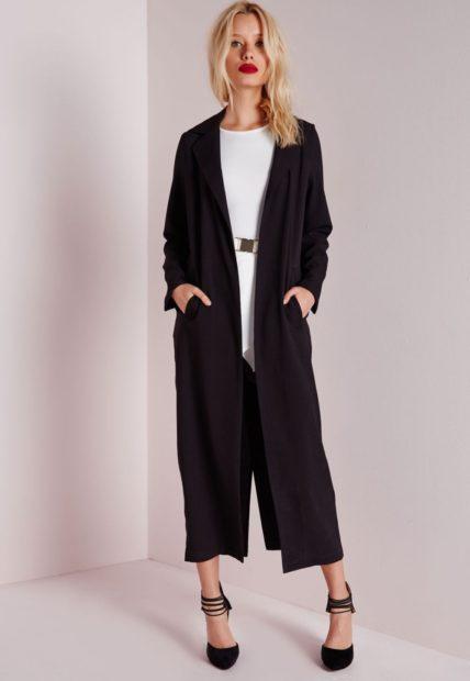 пиджаки 2018 длинный прямой черный