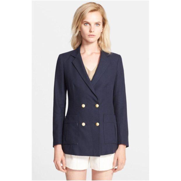 пиджаки 2018 двубортный синий с пуговицами
