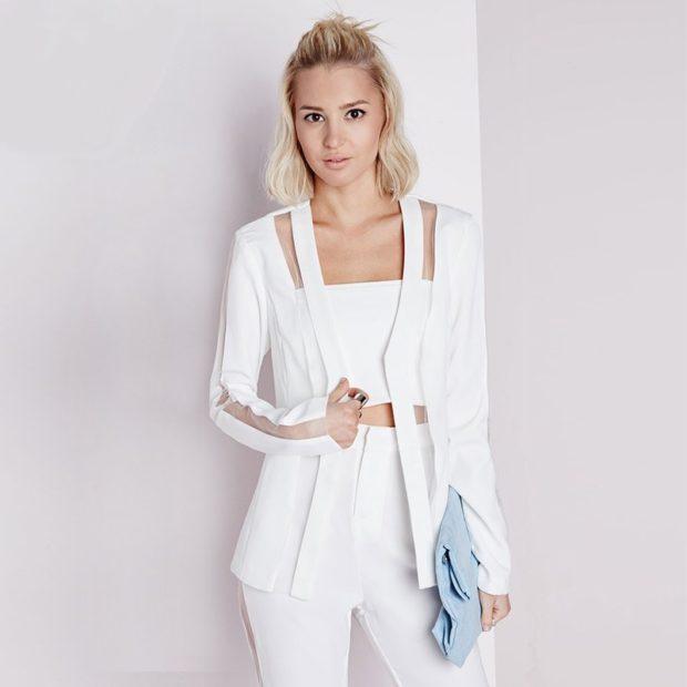 пиджаки женские модные в 2018 2019 году: белый с разрезами