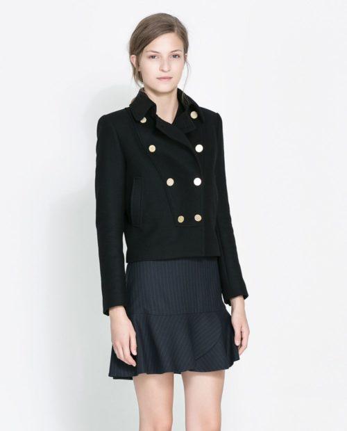 пиджаки 2018 двубортный короткий черный