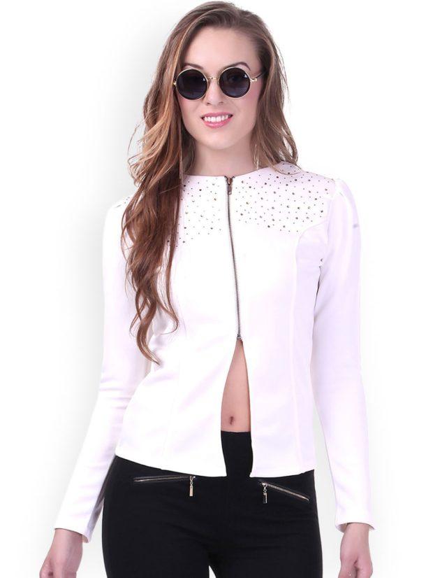 пиджаки женские модные: белый на змейке
