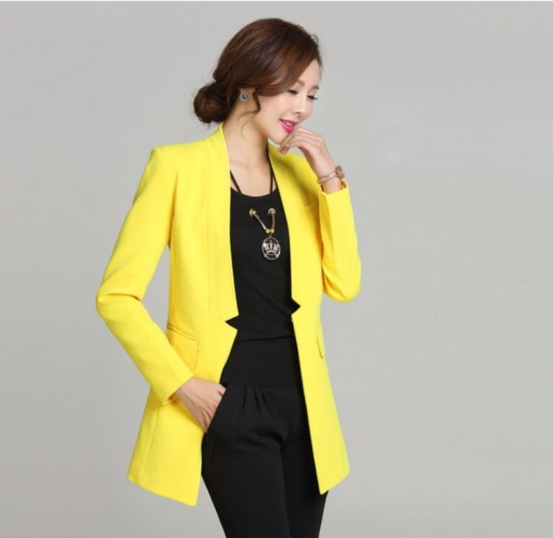 пиджаки женские модные в 2018 2019 году: желтый удлиненный