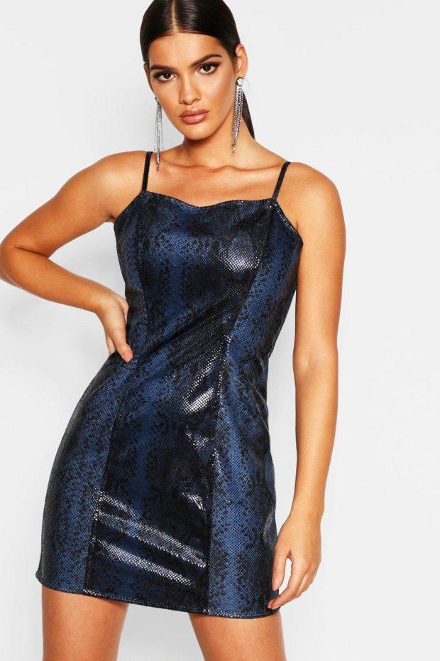платья на каждый день 2019-2020: синее кожаное