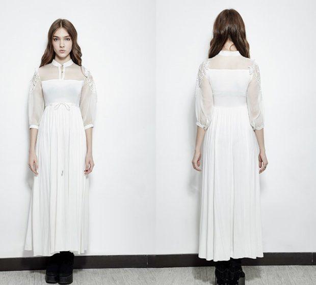 белое рубашка длина макси