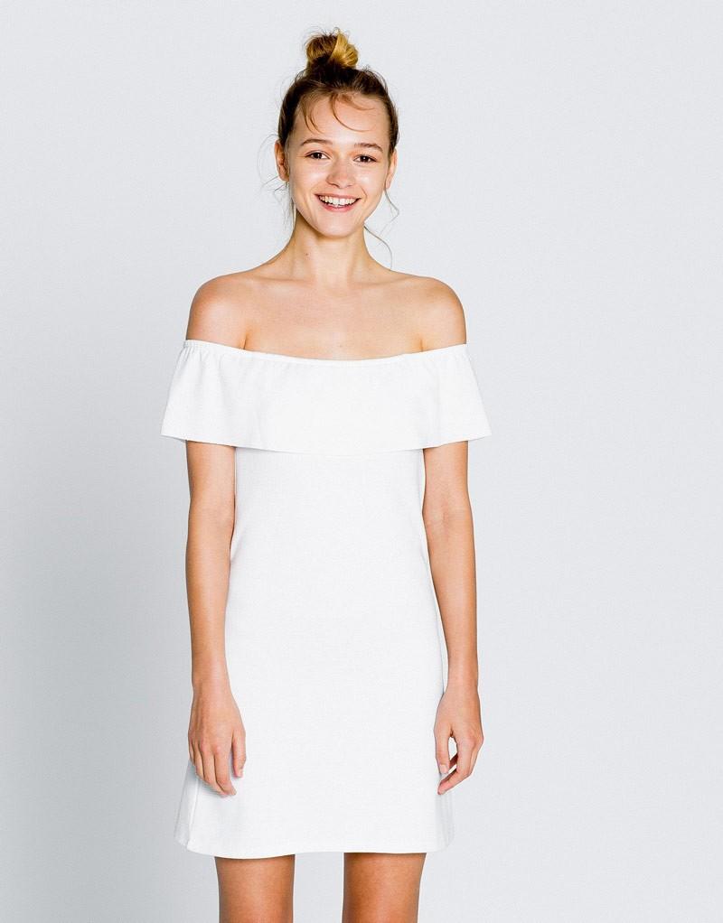 платья на каждый день 2019 2019 года платье с открытыми плечами белое