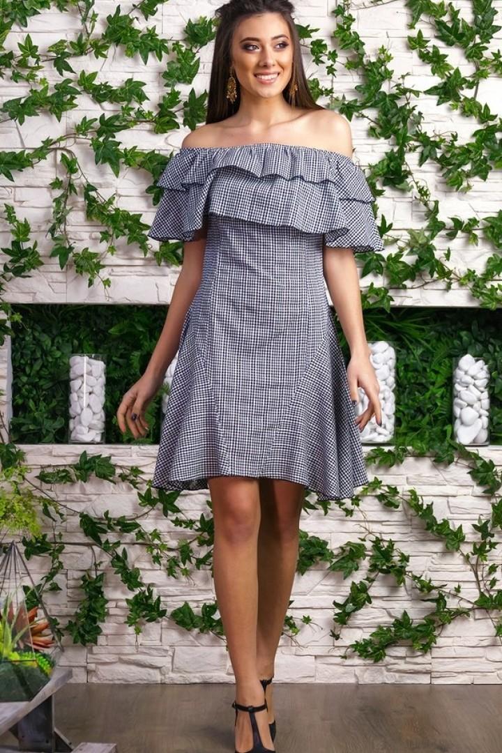 платья на каждый день 2019 2019 года платье с открытыми плечами с оборками серое
