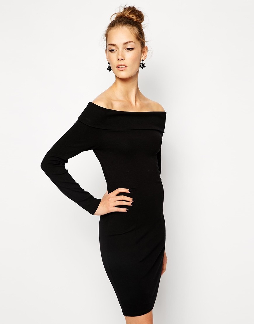 платья на каждый день 2019 2019 года платье с открытыми плечами черное по фигуре
