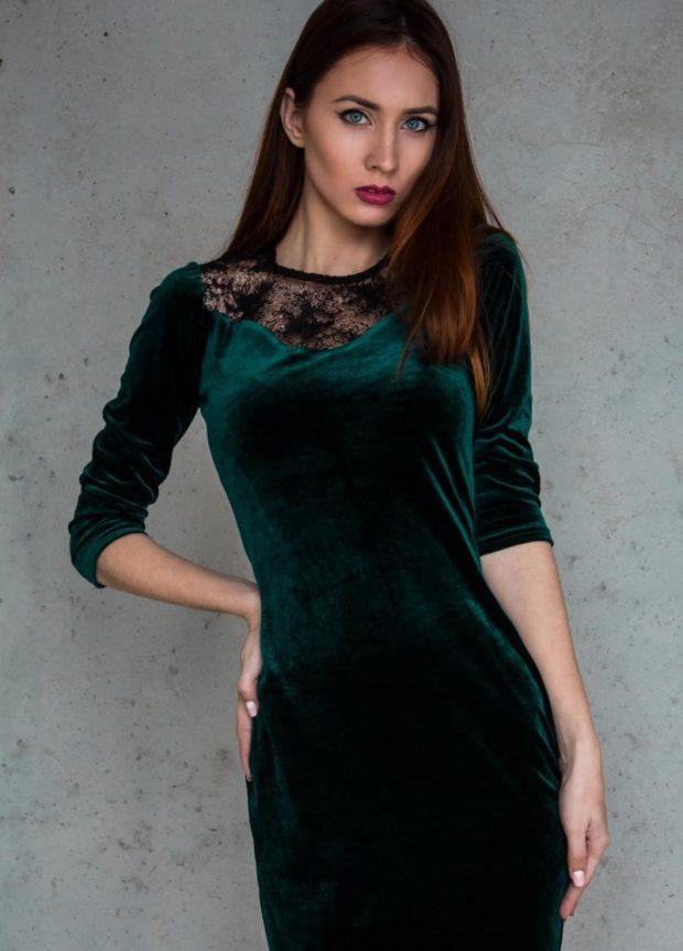 платья на каждый день темно-зеленое бархатное рукав 3/4