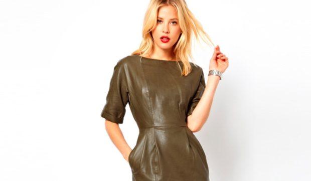 платья на каждый день кожаное зеленое рукав короткий