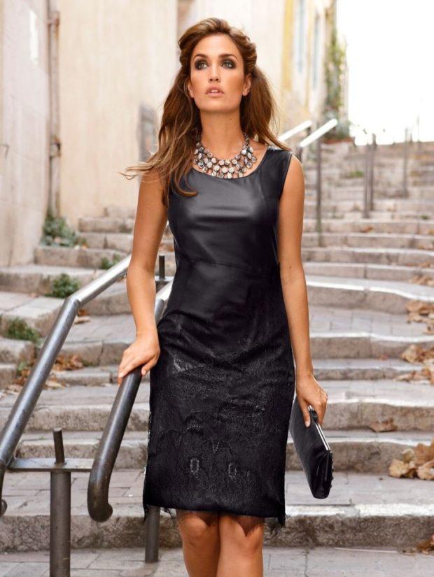 платья на каждый день черное кожаное открытые плечи