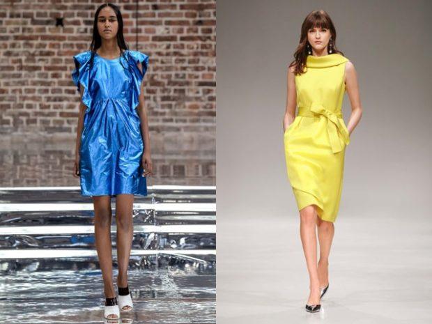 платья на каждый день металлик голубое желтое под пояс