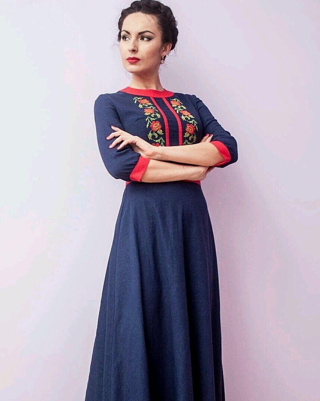 платья на каждый день 2019 2019 года платье льняное синее с узором