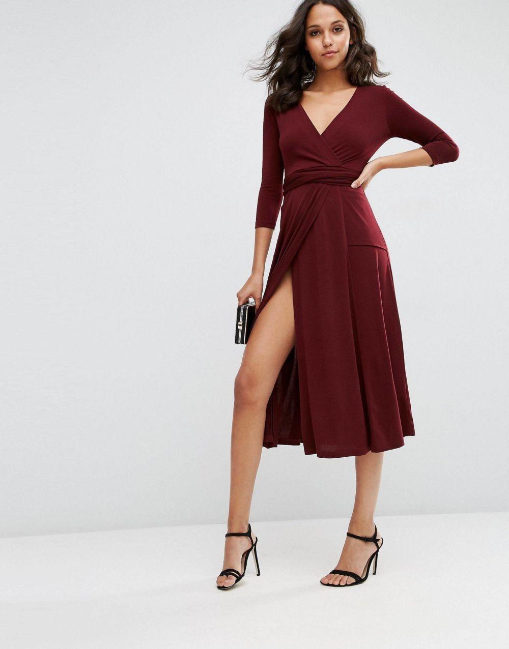 платья на каждый день 2019 2019 года платье с запахом красное