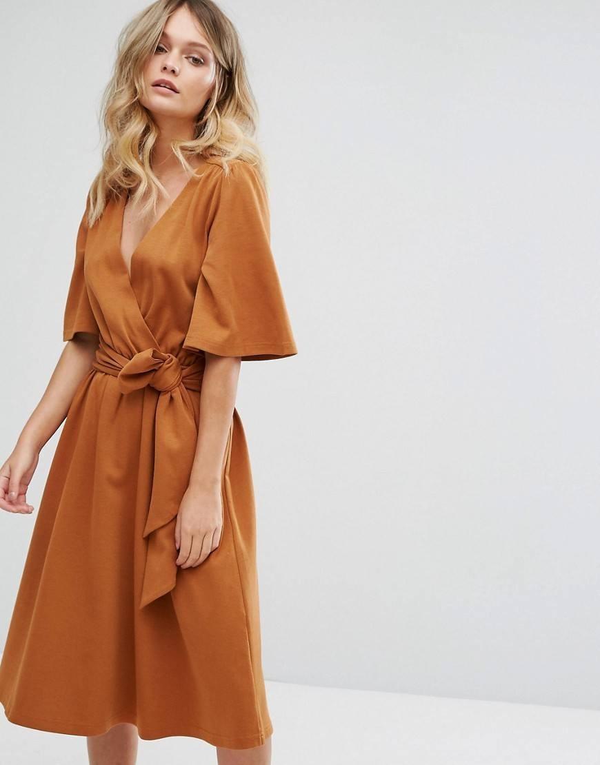 платья на каждый день 2019 2019 года платье с запахом коричневое рукав короткий
