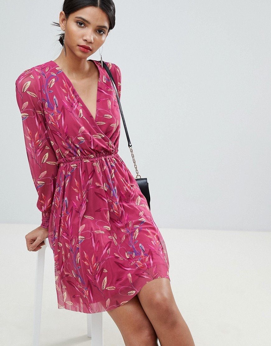 платья на каждый день 2019 2019 года платье с запахом летнее розовое с узором