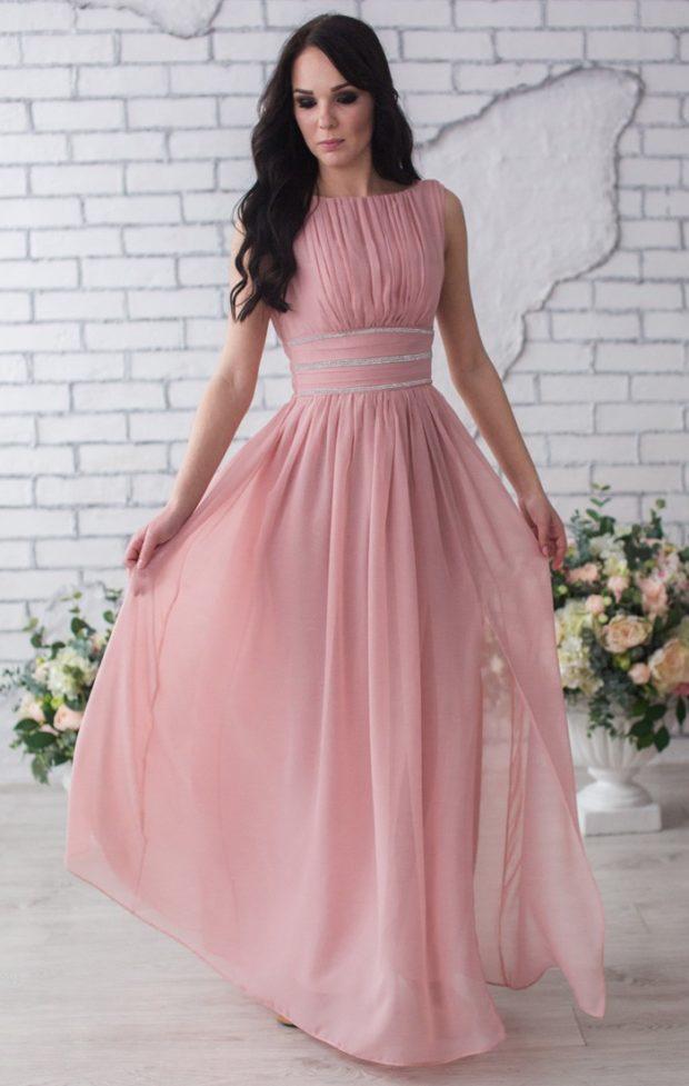 платье на выпускной: розовое в пол