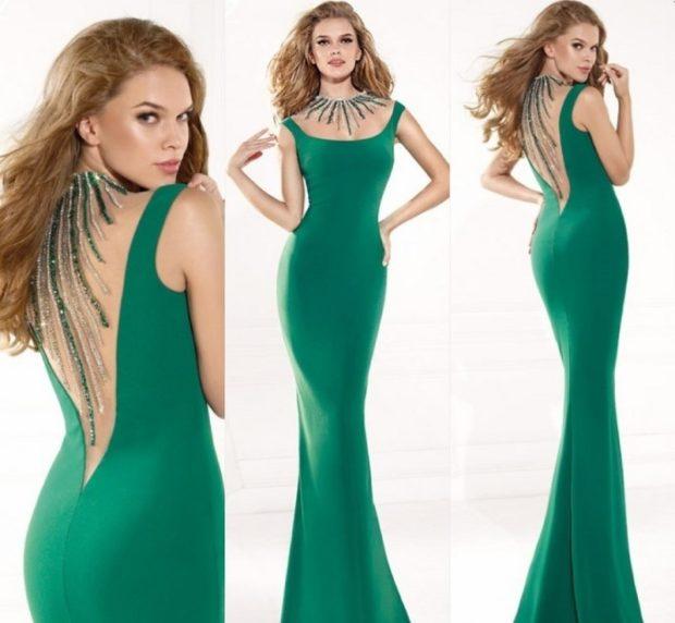 платья на выпускной: зеленое рыбка открытая спина