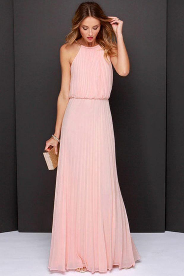 платье для выпускного: плиссе розовое в пол