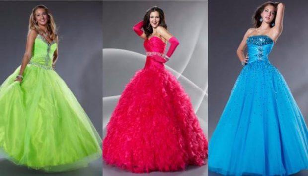 платье для выпускного: пышные салатовое красное синие