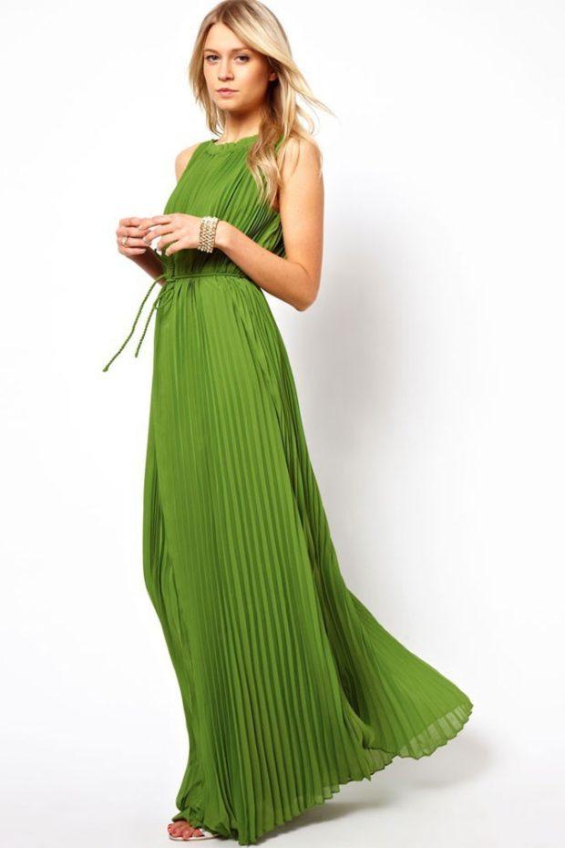 платье для выпускного: плиссе зеленое в пол