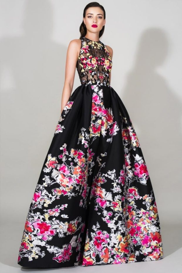 платье для выпускного: в пол с цветами